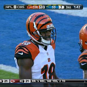 Cincinnati Bengals wide receiver A.J. Green 21-yard touchdown catch