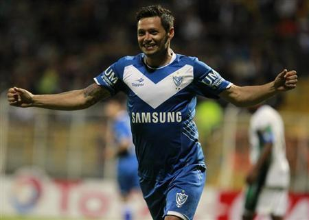 Zarate of Argentinas's Velez Sarsfield celebrates a goal against Colombia's La Equidad during their Copa Sudamericana soccer match in Bogota