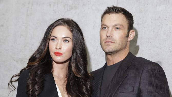 "FILE - This Sept. 25, 2010 file photo shows American actress Megan Fox posing with her husband Brian Austin Green after watching the presentation of the Emporio Armani Spring-Summer 2011 fashion collection, during the fashion week in Milan, Italy. wrote on her Facebook profile on Wednesday that she and husband Brian Austin Green welcomed a son named Noah Shannon Green on Sept. 27. She describes him as ""healthy, happy and perfect."" She goes on to say she and Green are ""humbled"" to be ""the parents of this beautiful soul."" Fox and Green were married in 2010. This is their first child together. (AP Photo/Luca Bruno, file)"