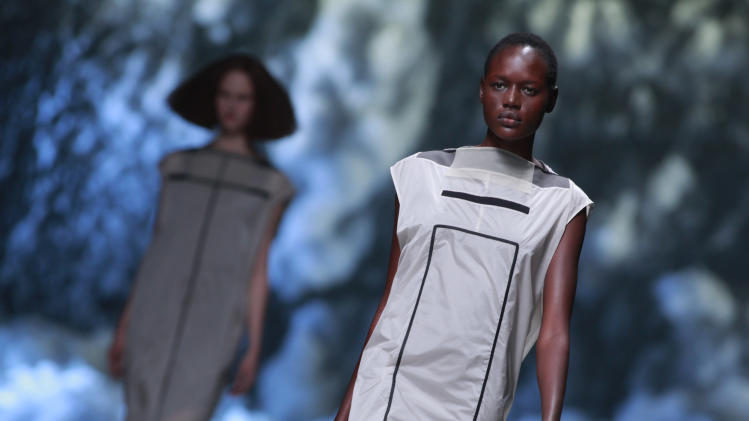 A model wears a creation for U.S fashion designer Rick Owens' ready to wear Spring-Summer 2013, presented in Paris, Thursday, Sept.27, 2012. (AP Photo/Thibault Camus)