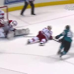 Brent Burns blasts one by Anton Khudobin