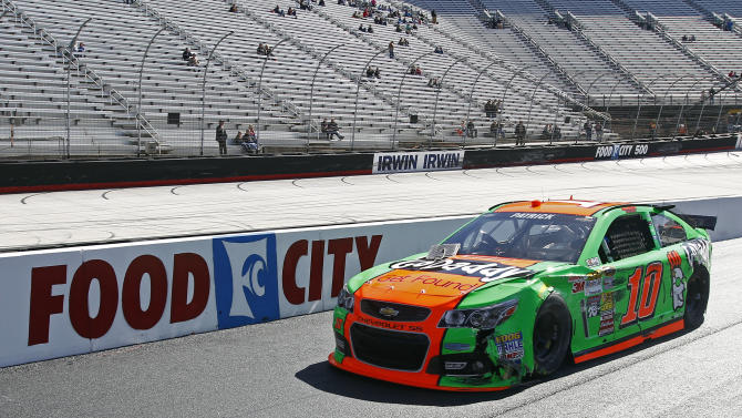 Driver Danica Patrick (10) rolls down pit road after hitting the wall during practice for the NASCAR Sprint Cup series auto race at Bristol Motor Speedway on Friday, March 14, 2014, in Bristol, Tenn. (AP Photo/Wade Payne)