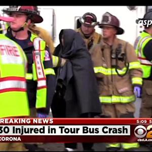 30 Injured In Tour Bus Crash On Interstate 15 In Corona