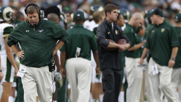 Colorado State coach Jim McElwain reacts after Colorado scored a touchdown against Colorado State in the first quarter of an NCAA college football game in Denver on Friday, Aug. 29, 2014. (AP Photo/David Zalubowski)