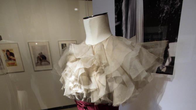 """A design by Muriel King, from the 1937 RKO movie  """"Stage Door,"""" is shown as part of the """"Katharine Hepburn: Dressed for Stage and Screen"""" exhibit in the New York Public Library for the Performing Arts at Lincoln Center,  Tuesday, Oct. 16, 2012. (AP Photo/Richard Drew)"""