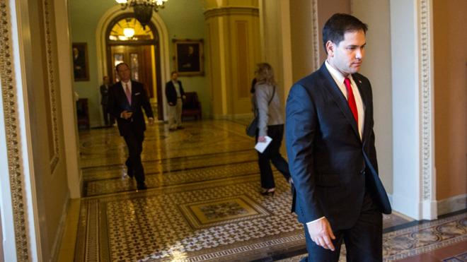 Sen. Marco Rubio walks right out of the GOP's frame.