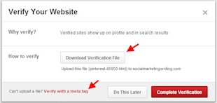 How to Verify Your Website and Blog on Pinterest image Download Pinterest Verification FIle and Complete Verification