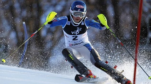 Mikaela Shiffrin of the U.S. clears a gate during the first run of the Alpine Skiing World Cup women&#39;s slalom ski race in Zagreb