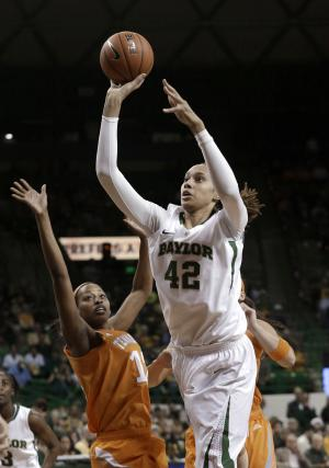 Baylor's Brittney Griner (42) shoots against Tennessee's Bashaara Graves (12) during the first half of an NCAA college basketball game Tuesday, Dec. 18, 2012, in Waco, Texas. (AP Photo/LM Otero)