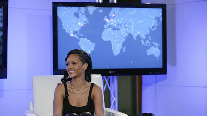 Recording artist Rihanna participates in her first ever Facebook Live chat hosted by Bravo's Andy Cohen, on Thursday, Nov. 8, 2012 at the Facebook Headquarters in New York. (Photo by Andy Kropa/Invision for Facebook/AP Images)