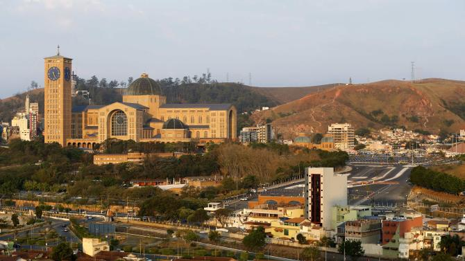 A general view of the Basilica of the National Shrine of Our Lady in the city of Aparecida do Norte