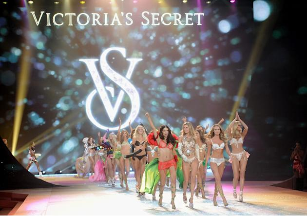 Models Adriana Lima, left, Doutzen Kroes and Candice Swanepoel, right,  lead the final runway walk during the 2012 Victoria's Secret Fashion Show on Wednesday Nov. 7, 2012 in New York. The show will b