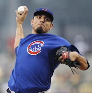 FILE - In this Aug. 3, 2011, file photo, Chicago Cubs pitcher Matt Garza delivers during the second inning of a baseball game against the Pittsburgh Pirates in Pittsburgh. Jeff Samardzija will be the opening-day starter for the Cubs, who said Garza will start the season on the disabled list because of an injured muscle in his side that is preventing the right-hander from throwing. (AP Photo/Gene J. Puskar, File)