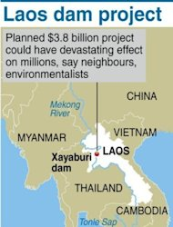 The Mekong River locating the Xayaburi hydroelectric dam project being planned by Laos. Hillary Clinton Wednesday became the first US secretary of state to visit Laos for 57 years, on a trip focused on the damaging legacy of the Vietnam War and a controversial dam project