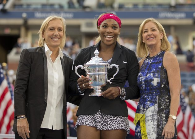 Sep 7, 2014; New York, NY, USA; Serena Williams (USA)with Martina Navratilova (left) and Chris Evert (right) at the trophy presentation after recording match point against Caroline Wozniacki (DEN) in the women's singles final of the 2014 U.S. Open tennis tournament at USTA Billie Jean King National Tennis Center. (Susan Mullane-USA TODAY Sports)