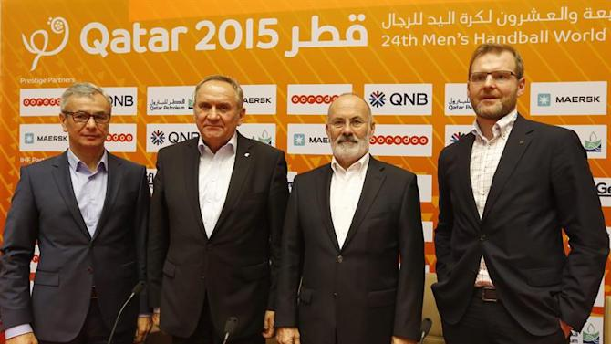 . Lusail (Qatar), 31/01/2015.- (from left) Andrzej Biernat, Polish Minister of Sport and Tourism, Andrzej Krasnicki, president of the Polish Handball Federation, Jean Brihault, president of the European Handball Federation (EHF) and Marcin Herra, vice president of the Polish Handball Federation and head of Euro 2016, during a press conference on the Men's EHF EURO 2016 in Poland, at the Lusail Multipurpose Hall outside Doha, Qatar, 31 January 2015. Qatar 2015 via epa/Nic Bothma Editorial Use Only/No Commercial Sales