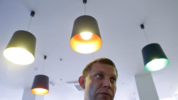 Zakharchenko, prime minister of the self-proclaimed Donetsk People's Republic, speaks to the media in Donetsk