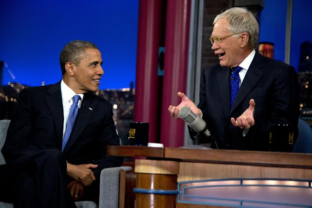 President Barack Obama talks with David Letterman on the set of the &quot;Late Show With David Letterman&quot; at the Ed Sullivan Theater, Tuesday, Sept. 18, 2012, in New York. (AP Photo/Carolyn Kaster)