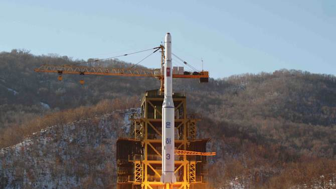 """FILE - In this Dec. 12, 2012 file photo released by Korean Central News Agency, North Korea's Unha-3 rocket lifts off from the Sohae launch pad in Tongchang-ri, North Korea.North Korea vowed Monday, Jan. 14, 2013, to strengthen its defenses amid concerns the country may conduct a nuclear test as a follow-up to last month's long-range rocket launch. Citing U.S. hostility, Pyongyang's Foreign Ministry said in a memorandum that North Korea will """"continue to strengthen its deterrence against all forms of war."""" (AP Photo/KCNA, File)"""