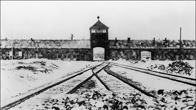 A picture taken in January 1945 shows the railway lines leading into Auschwitz concentration camp after its liberation by Soviet troops
