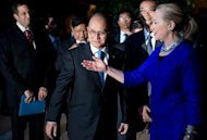 &lt;p&gt;This file photo shows US Secretary of State, Hillary Clinton, speaking to Myanmar President Thein Sein (C) before a meeting in Siem Reap, in July.&lt;/p&gt;