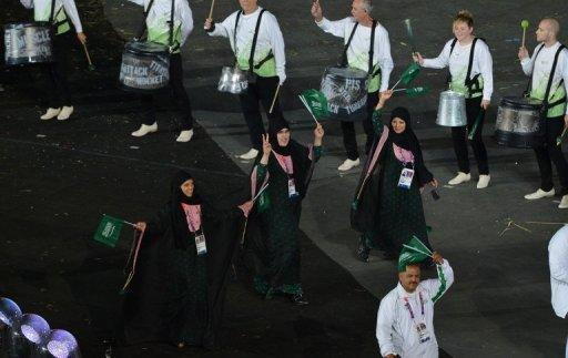 Saudi Arabia's delegation parades during the opening ceremony of the London 2012 Olympic Games