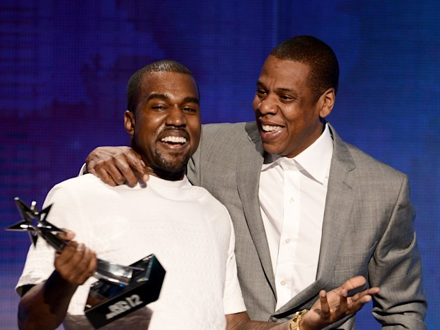 LOS ANGELES, CA - JULY 01:  Recording artists Kanye West (L) and Jay-Z accept the  Best Group Award onstage during the 2012 BET Awards at The Shrine Auditorium on July 1, 2012 in Los Angeles, California.  (Photo by Michael Buckner/Getty Images For BET)