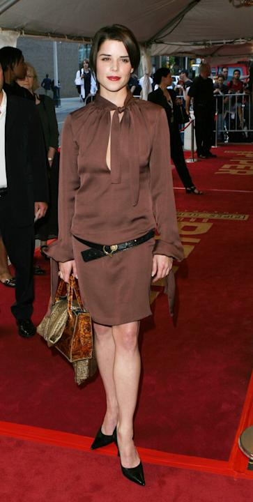 Neve Campbell in brown silk