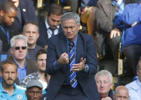 Chelsea manager Mourinho reacts during their English Premier League soccer match against Arsenal at Stamford Bridge in London