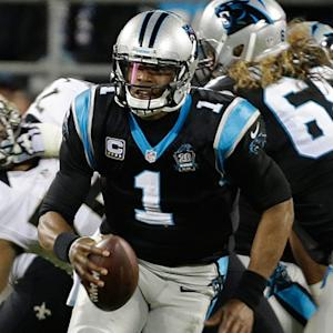 Carolina Panthers quarterback Cam Newton gets intercepted by New Orleans Saints cornerback Corey White