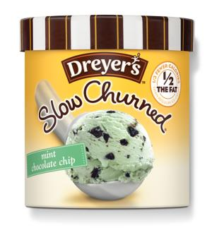 """This product image provided by Dreyer's/Edy's Ice Cream shows packaging which displays a """"1/2 the Fat"""" label. Dieters know that if you take the fat and calories out of your favorite treats, you sometimes have to say goodbye to the taste too. But brands like Dreyer's/Edy's ice cream and Lay's potato chips are trying to solve this age-old dieter's dilemma by rolling out mid-calorie goodies that have more fat and calories than the snacks of earlier diet crazes but less than the original versions. (AP Photo/Dreyer's/Edy's Ice Cream)"""
