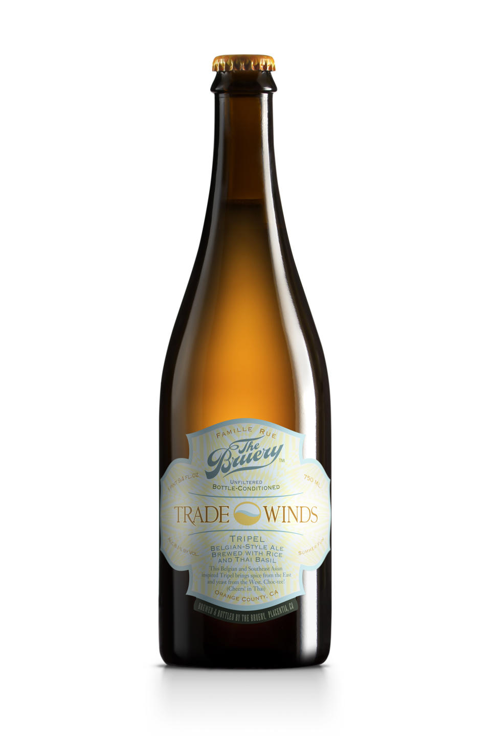 This undated publicity photo provided by The Bruery shows a bottle of Trade Winds Tripel/Belgian-style Golden Ale. (AP Photo/The Bruery)