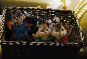 Simon (voiced by Matthew Gray Gubler ), Theodore (voiced by Jesse McCartney ) and  Alvin (voiced by Justin Long ) in 20th Century Fox's Alvin and the Chipmunks