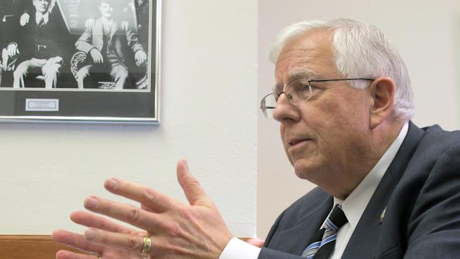 FILE - In this Feb. 19, 2014 file photo, U.S. Sen. Mike Enzi, R-Wyo., addresses reporters at the Wyoming Capitol in Cheyenne. Enzi is seeking a fourth term and enjoys considerable name recognition and fundraising advantages over four GOP challengers. (AP Photo/Ben Neary, File)