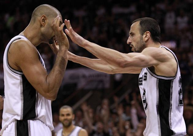 Tim Duncan #21 And Manu Ginobili #20 Of The San Antonio Spurs React While Taking On The Oklahoma City Thunder In The  Getty Images