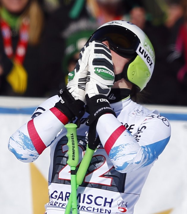 Austria's Fenninger celebrates during the women's Alpine Skiing World Cup super-G race in Garmisch-Partenkirchen