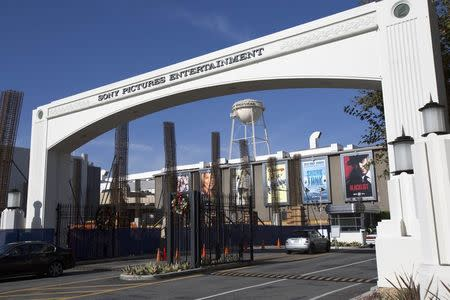 An entrance gate to Sony Pictures Studios is pictured in Culver City