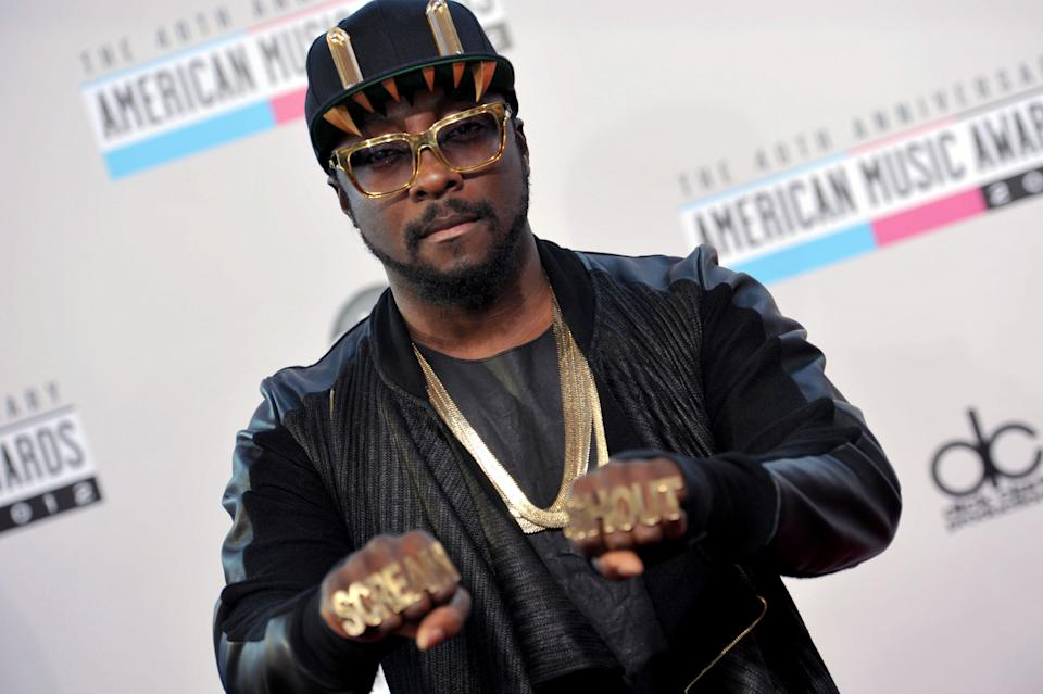 will.i.am arrives at the 40th Anniversary American Music Awards on Sunday, Nov. 18, 2012, in Los Angeles. (Photo by John Shearer/Invision/AP)