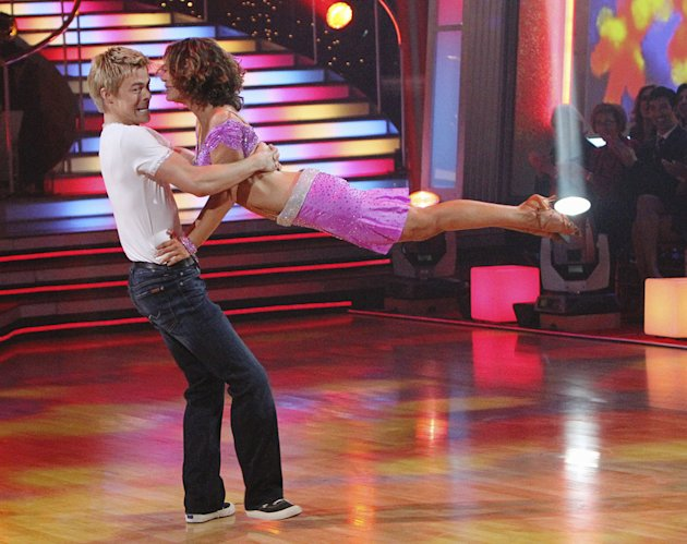 "Derek Hough and Jennifer Grey perform on ""Dancing with the Stars."""