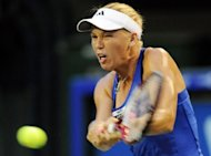 Former world number Caroline Wozniacki, pictured on September 24, extended her recent revival Tuesday as she saw off Daniela Hantuchova in round two of the star-studded Pan Pacific Open in Tokyo