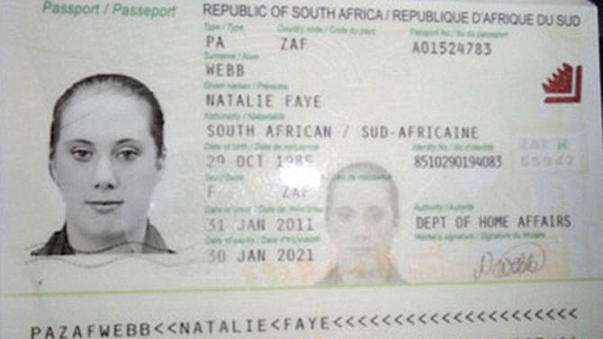 Hanout photo of copy of fake South African travelling passport of Samantha Lewthwaite