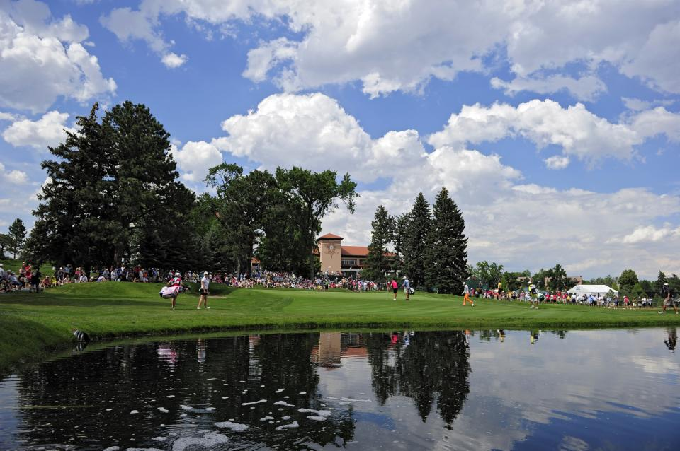 The golf group with Stacy Lewis, Brittany Lincicome and Na Yeon Choi play the third hole during the second round of the Women's U.S. Open golf tournament at the Broadmoor Golf Club on Friday, July 8, 2011, in Colorado Springs, Colo. (AP Photo/Mark J. Terrill)