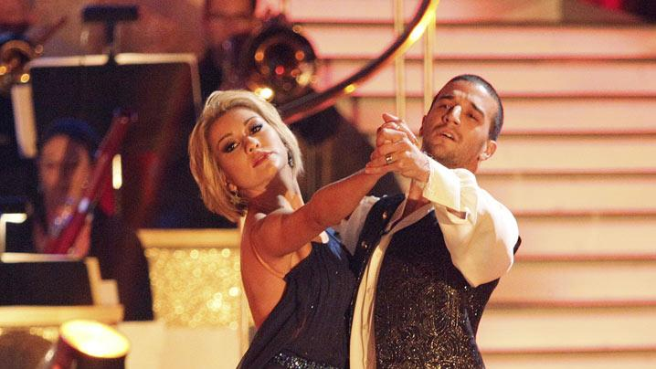 "Chelsea Kane and Mark Ballas perform on ""Dancing with the Stars."""