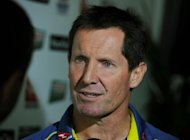 Australian Wallabies coach Robbie Deans is interviewed after a press conference in Sydney on August 10. The clock is ticking for Deans, who has four Tests to turn around their fortunes or face the sack, Australian media said on Monday