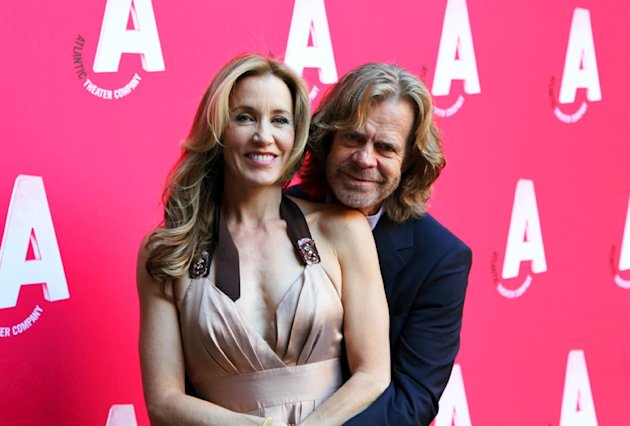 Actors Felicity Huffman, left, and William H. Macy pose at the celebration of the reopening of the Atlantic Theater Company, Monday, Oct. 1, 2012, after an $8.3 renovation project in New York. The Atlantic, founded in 1985 by David Mamet, Macy and Huffman, has produced more than 130 plays, including the Tony Award-winning productions of &quot;Spring Awakening&quot; and &quot;The Beauty Queen of Leenane.&quot; Its facelift included the renovation of 6,300 square feet of space containing the newly dedicated 199-seat Linda Gross Theater, the expansion of a 5,100-square-foot basement to create an enlarged lobby with new restrooms, a new box office, improved handicap access, a prop-building workshop, a costume shop and backstage support offices. (AP Photo/Mark Kennedy)