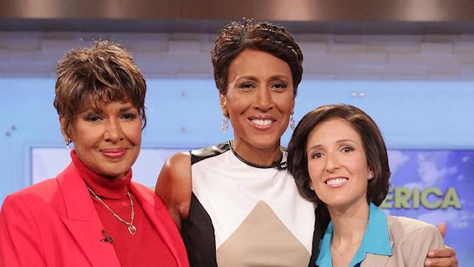 """This image released by ABC shows """"Good Morning America"""" co-host Robin Roberts, center, poses with her sister Sally-Ann Roberts, left, and Dr. Gail Roboz on the popular morning show on Thursday, Aug. 30, 2012 in New York. Roberts has said goodbye to """"Good Morning America,"""" but only for a while. The """"GMA"""" anchor made her final appearance Thursday before going on medical leave for a bone marrow transplant. Roberts' departure was first planned for Friday, but she chose to exit a day early to visit her ailing mother in Mississippi. In July she first disclosed that she has MDS, a blood and bone marrow disease. She will be hospitalized next week to prepare for the transplant. The donor will be her older sister, Sally-Ann Roberts. Roboz, who is helping Robin prepare her for her bone marrow transplant, appeared on the program to discuss the medical road ahead. In the coming weeks, Dr. Roboz will help monitor Robin's health and progress.  (AP Photo/ABC, Fred Lee)"""
