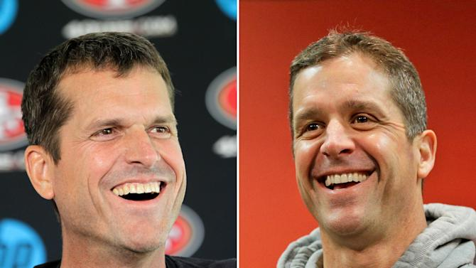 FILE - In a July 27, 2012 file photo, San Francisco 49ers head coach Jim Harbaugh, left, smiles during a news conference at the teams headquarters in Santa Clara, Calif. At right, in a Jan. 16, 2013 file photo, Baltimore Ravens head coach John Harbaugh smiles during a new conference at the teams practice facility in Owings Mills, Md. The Harbaugh's will be the first pair of brothers to coach against each other in the NFL title game. (AP Photo/File)