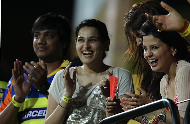 CSK captain MS Dhoni's wife Sakshi watching the match during the match between Chennai Super Kings and Sunrisers Hyderabad at MA Chidambaram Stadium in Chennai on April 25, 2013. (IANS)