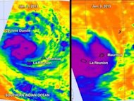 The AIRS instrument aboard NASA's Aqua satellite captured these infrared images of Tropical Cyclone Dumile on Jan. 2 at 2123 UTC, and Jan. 3 at 0936 UTC. The purple areas indicate the coldest, highest clouds with heaviest rainfall. The circular