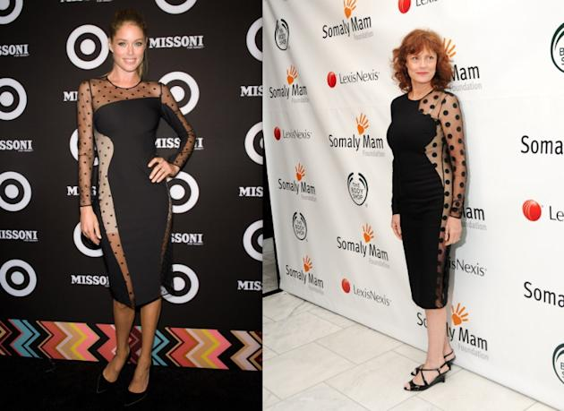 Maybe I'm crazy but I think the mesh sultriness of this dress is better articulated by veteran sex symbol Susan Sarandon (65) than Victoria's Secret model Doutzen Kroes (26). It's too obvious on Doutz